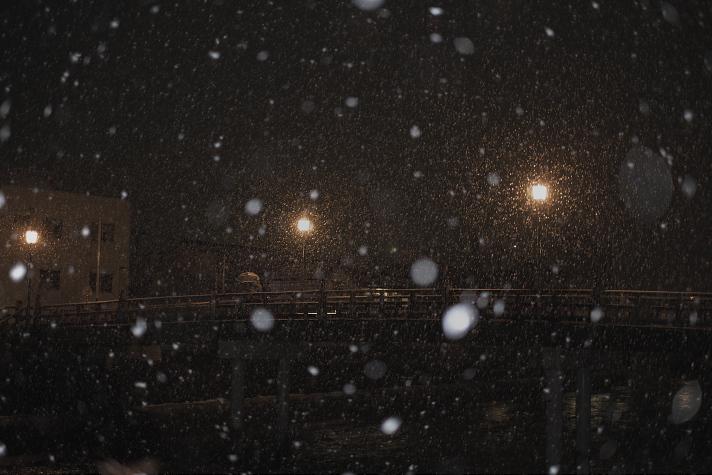 中の橋 ぼた雪